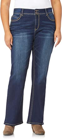 Amazon Com Wallflower Women S Juniors Luscious Curvy Stretch Denim Bootcut Jeans Size 0 24 Plus 30 32 34 Inseam Clothing