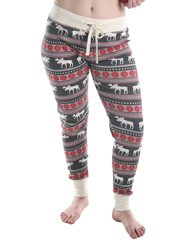 TALLA L. LazyOne Mujer Moose Fair Isle Pijama Polainas
