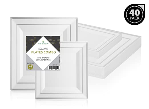 """""""Elite Selection"""" Square Plates Set Of 40 White Party Plastic Plates With Silver Rim Includes 20 Dinner Plates 10 Inch And 20 Salad/Dessert Plates 7 Inch"""
