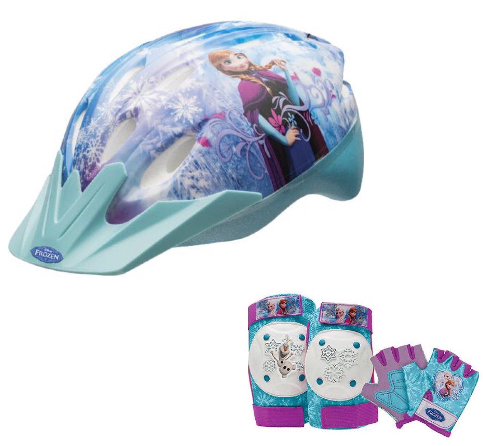Disney Frozen Girls Skate / Bike Helmet, Pads & Gloves - 7 Piece Set