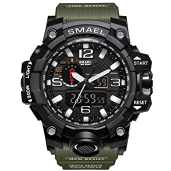 KXAITO Mens Watches Sports Outdoor Waterproof Military Wrist Watch Date Multi Function Tactics LED Alarm Stopwatch