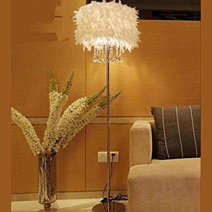 Feather Floor Lamp K9 Crystal Lamp Home Lighting Living Room Dining Room  Bedroom Stand Light White