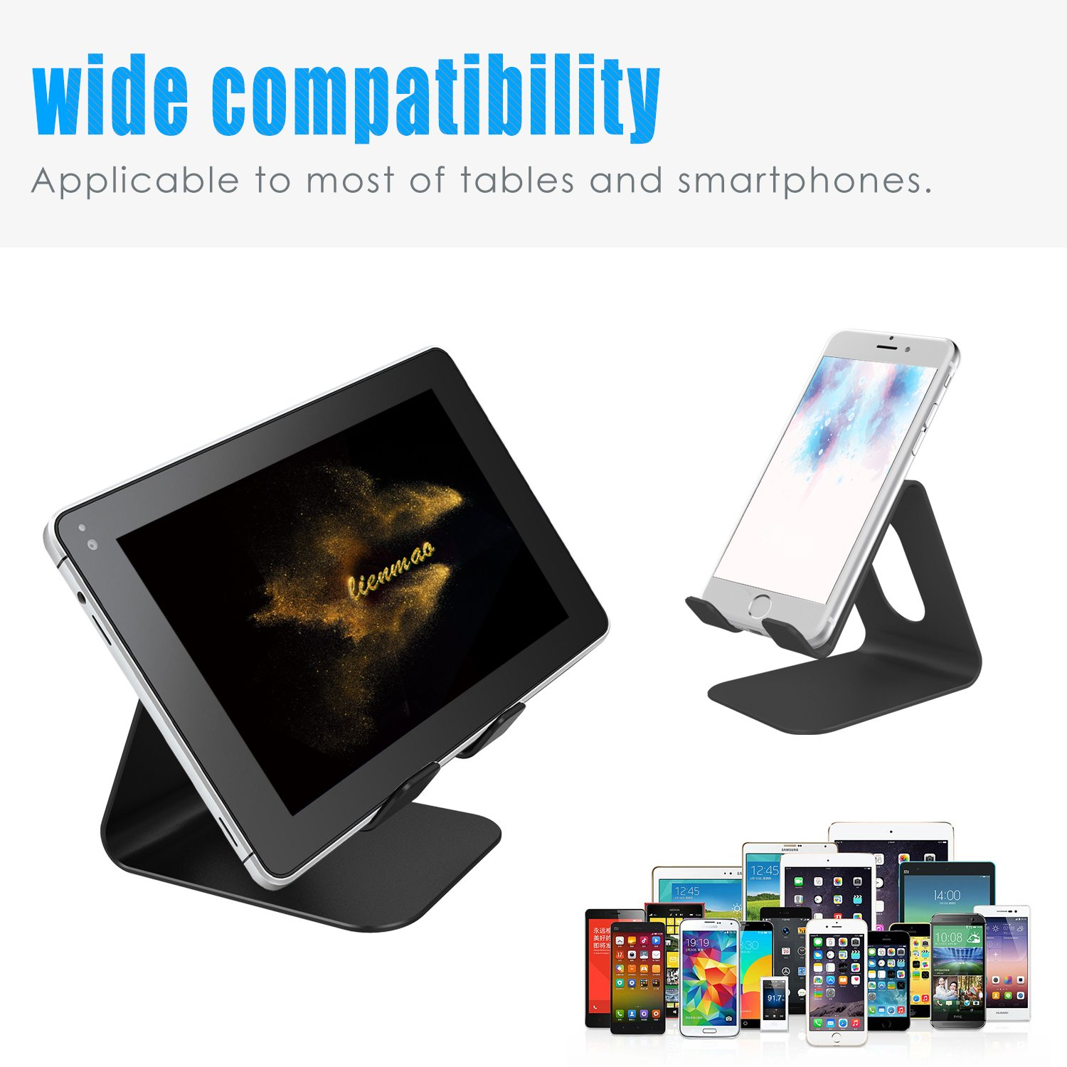 [Updated Solid Version] Lobkin Desktop Cell Phone Stand Tablet Stand, Advanced 4mm Thickness Aluminum Stand Holder for Mobile Phone (All Size) and Tablet (Up to 10.1 inch) ,Black
