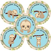 Sloth Animal Thank You Sticker Labels - Birthday Baby Shower Party for Boy in Blue - Set of 30