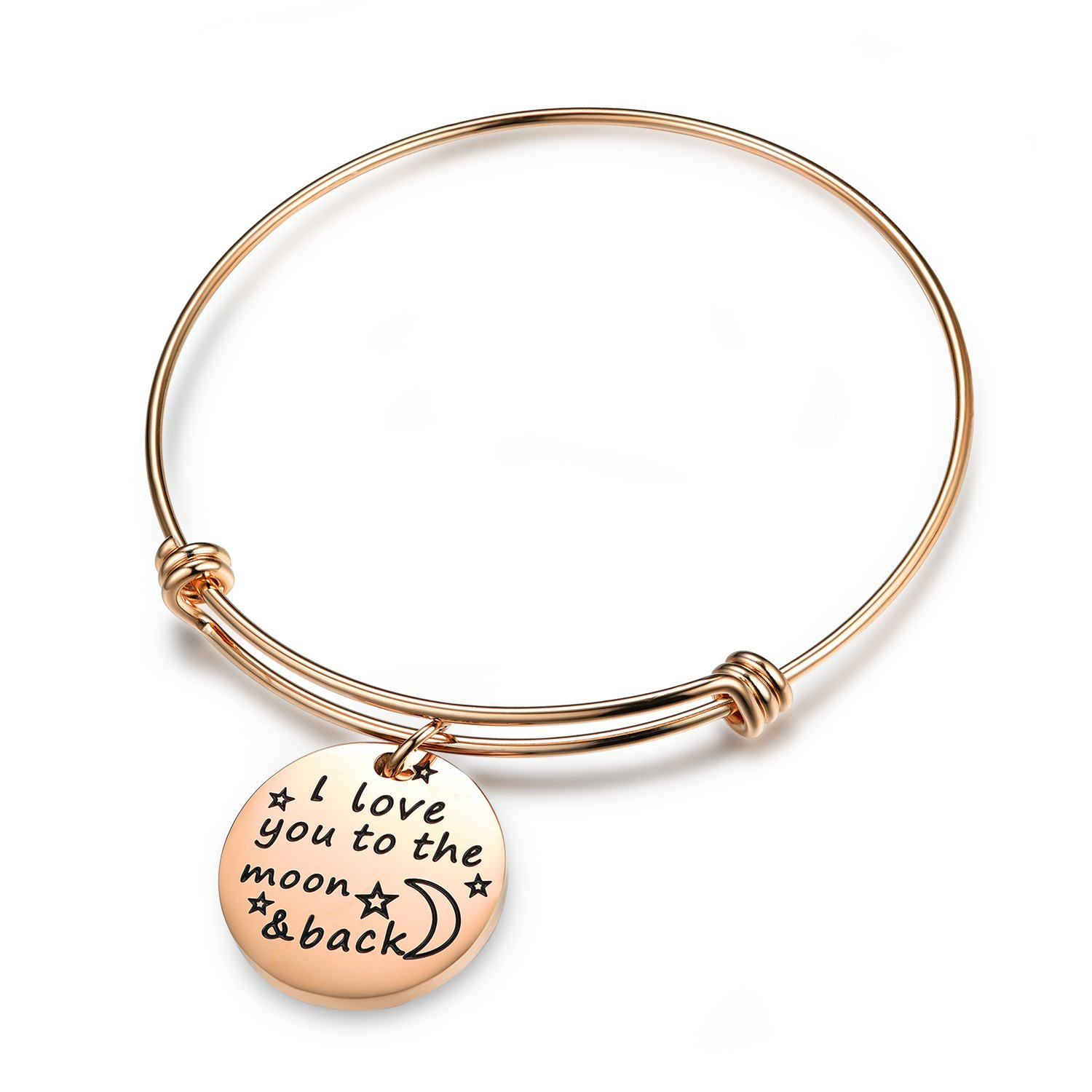 QILMILY Rose Gold Bangle with Charm-I love you to the moon and back Adjustable Wire Bangle Bracelet for Teens Jewelry