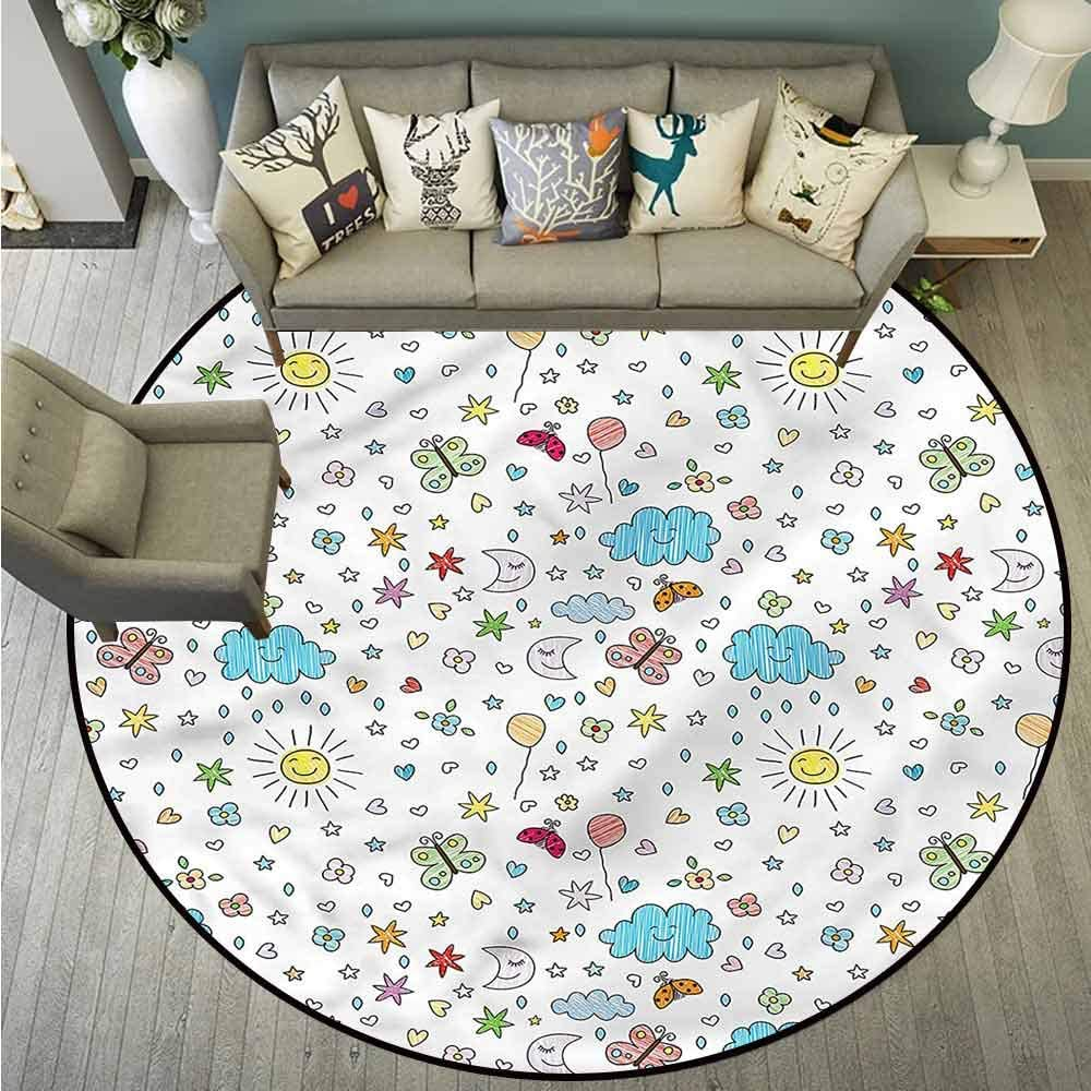 Round Rugs,Kids,Smiling Sun Moon and Stars,Large Area mat,4'11""