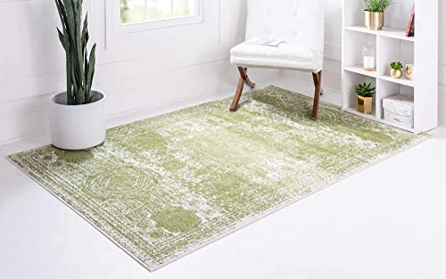 Unique Loom Bromley Collection Vintage Traditional Medallion Border Green Area Rug 8' 0 x 11' 0