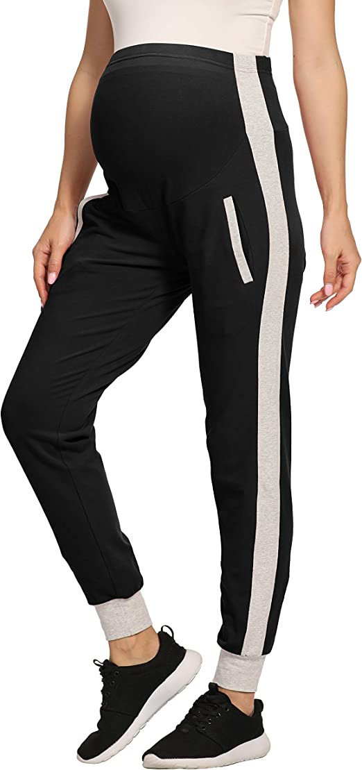 Foucome Womens Over Bump Super Soft Support Maternity Leggings Cropped Pants