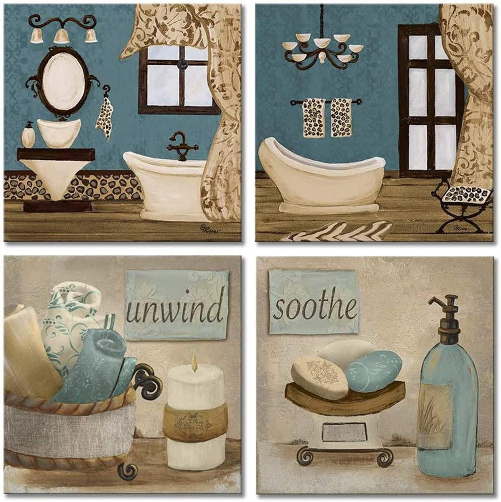 Amazon Com Viivei Vintage Retro Teal Bathroom Canvas Poster Wall Art Decor Artwork Blue Bathroom Wall Art 4 Pieces Canvas Blue Teal Wall Decor Pictures For Bathroom Living Room Framed Ready To Hang