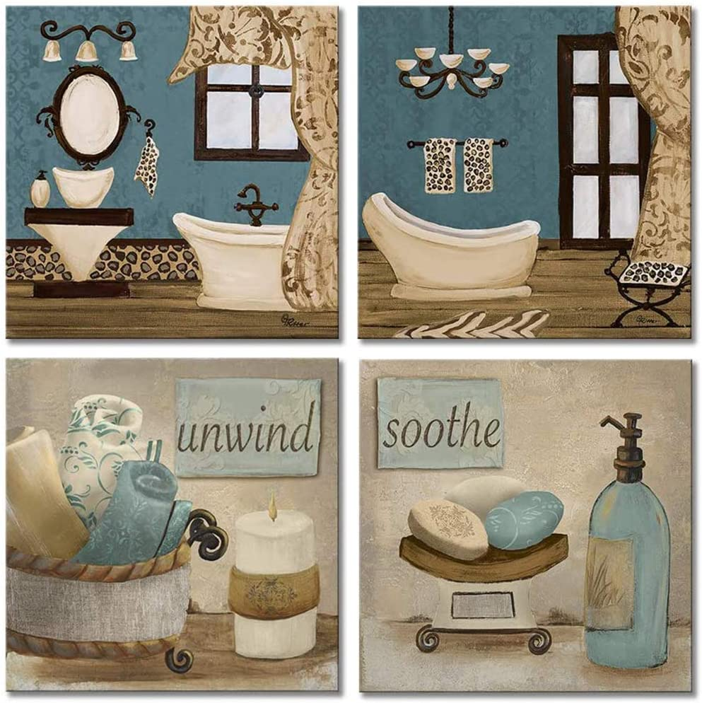 Amazon Com Viivei Bathroom Canvas Wall Art Prints Framed Ready To Hang Teal Blue Wall Decor Vintage Paintings Posters Great Gift Home Artwork 12 X12 09 Bathroom Decor Posters Prints