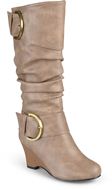 29a1168981e Journee Collection Women s Tall Faux Leather Buckle Boots Taupe