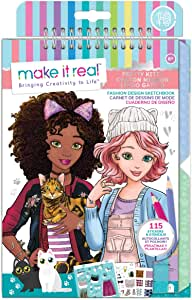 Make It Real - Fashion Design Sketchbook: Pretty Kitty. Cat Inspired Fashion Design Coloring Book for Girls. Includes Sketchbook, Stencils, Stickers and Fashion Design Guide