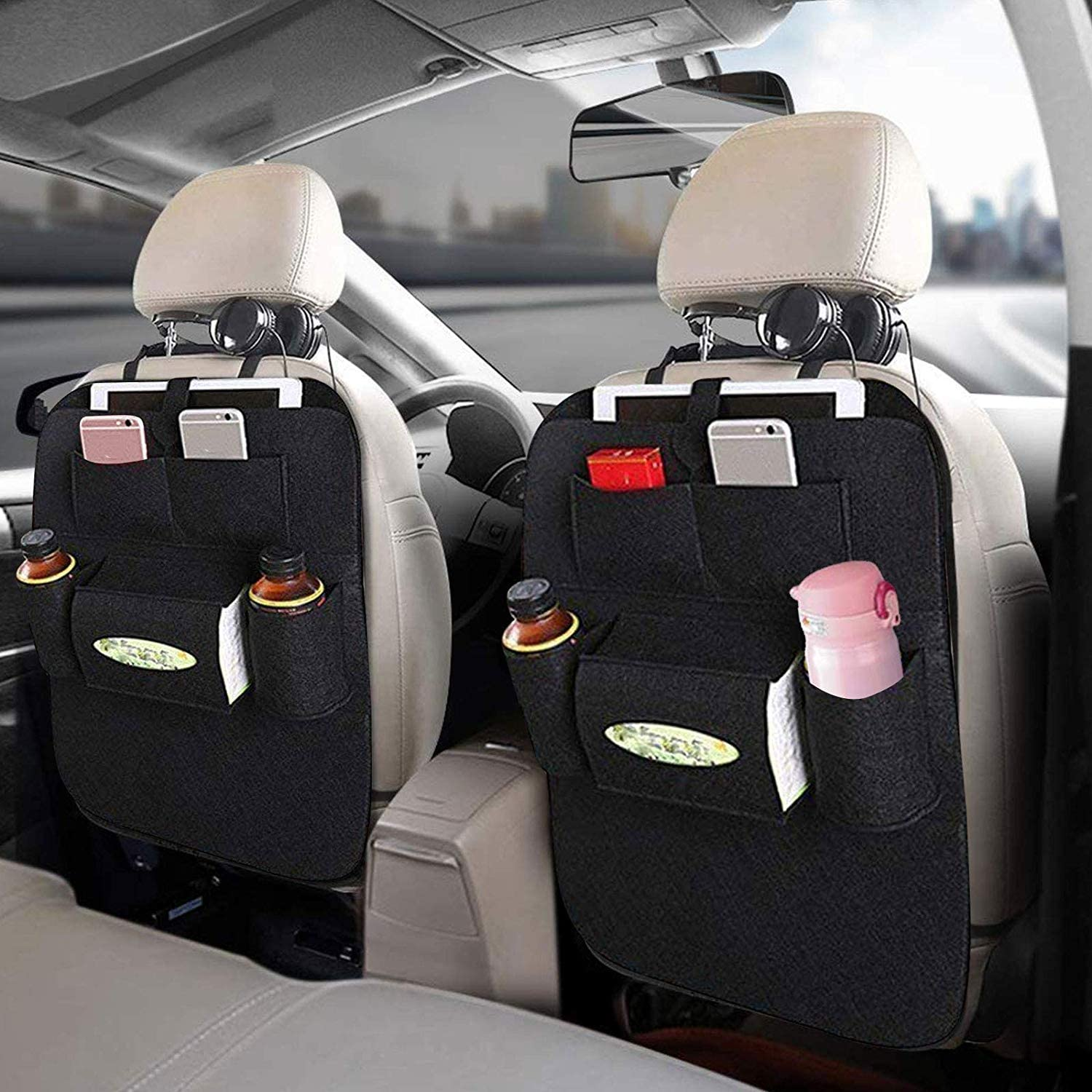 Backseat Car Organizer Car Back Seat Organizer Travel Storage Bag For Baby Kids Black Amazon Co Uk Baby