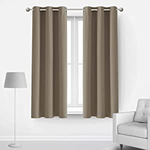 Deconovo Room Darkening Curtains Set of 2 Blackout Drapes with Grommets Thermal Insulated Energy Saving Noise Reducing Window Panels, 2 Panels, Each Curtain 42x63 in, Taupe