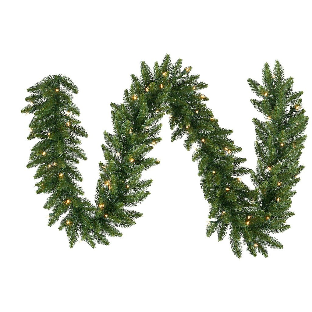 Vickerman Pre-Lit Camdon Fir Garland with 50 Multicolored Frosted Italian LED Lights, 9-Feet, Green A861107LED