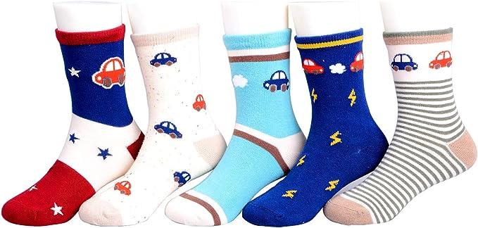 Calcetines para niño, 5 pares de calcetines de algodón con diseño ...