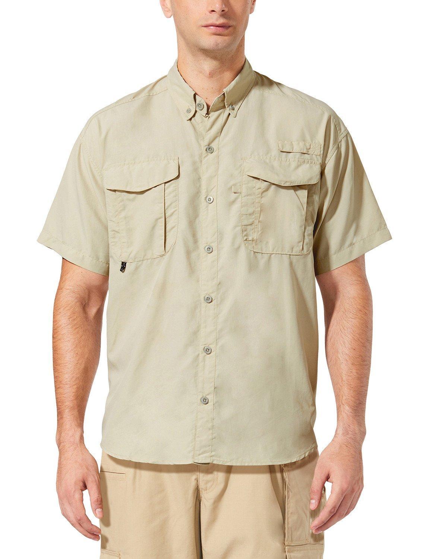Baleaf Men's Outdoor UPF 50+ Sun Protection Short-Sleeve Shirt Khaki Size XXL