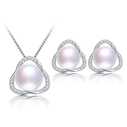 ea261c2477fc DIAMOVI- Juego de joyas de perlas cultivadas en agua dulce con collar y  arete de plata ...