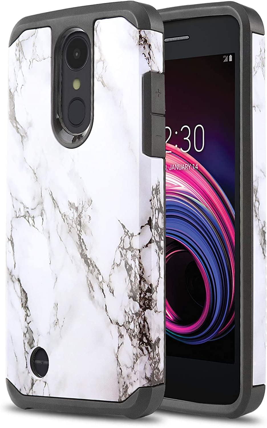 Phone Case for [LG Rebel 4 LTE (L212VL, L211BL)], [DuoTEK Series][White Marble] Shockproof Cover [Impact Resistant] for LG Rebel 4 LTE (Tracfone, Simple Mobile, Straight Talk, Total Wireless)