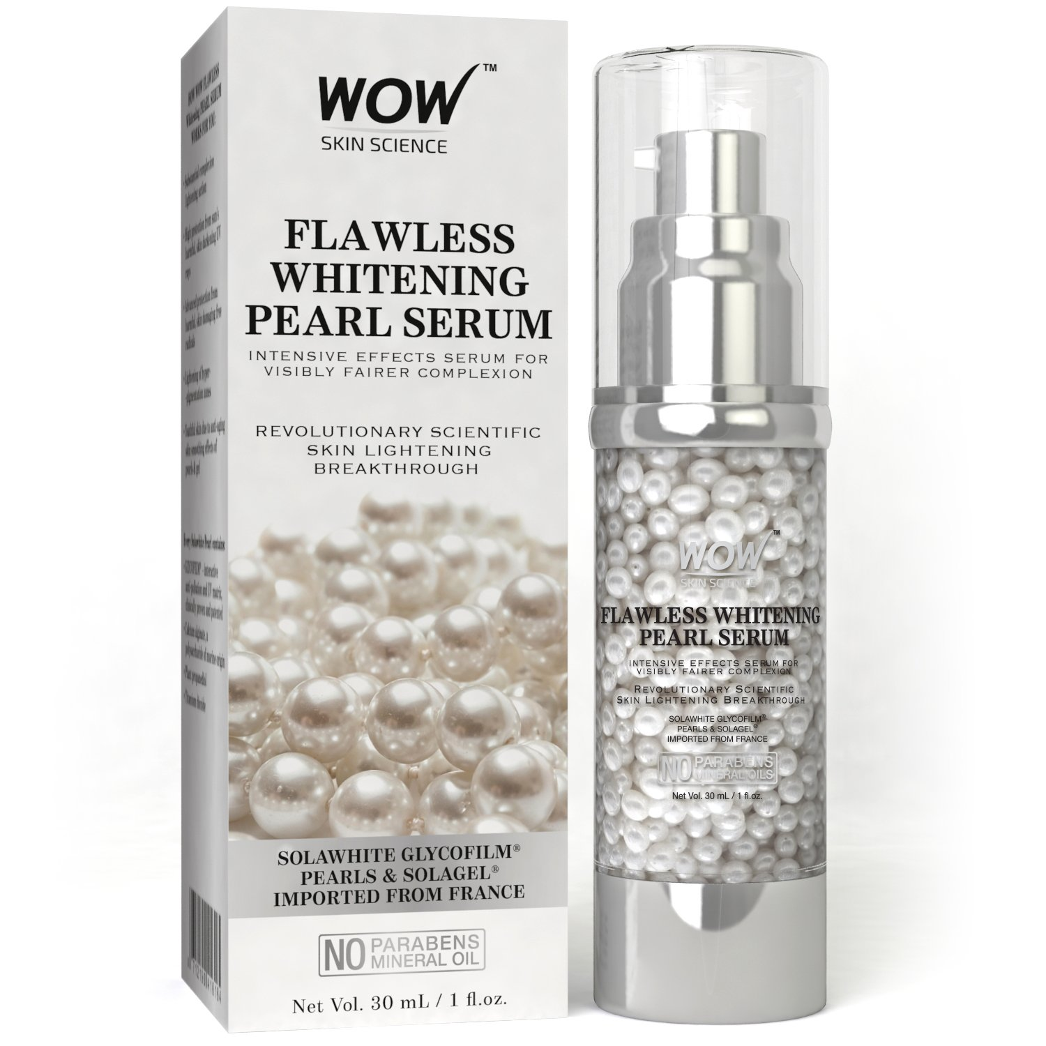 WOW Flawless Whitening No Parabens & Mineral Oil Pearl Serum, 30mL