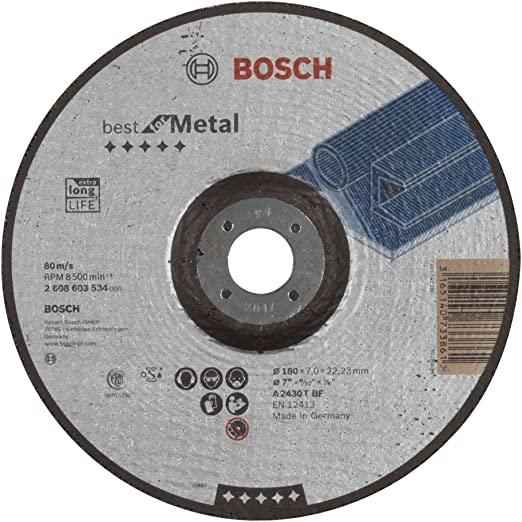 KG Bosch 2608603534 7.09x7mm Grinding disc for metal cranked C /& J Direct GmbH /& Co