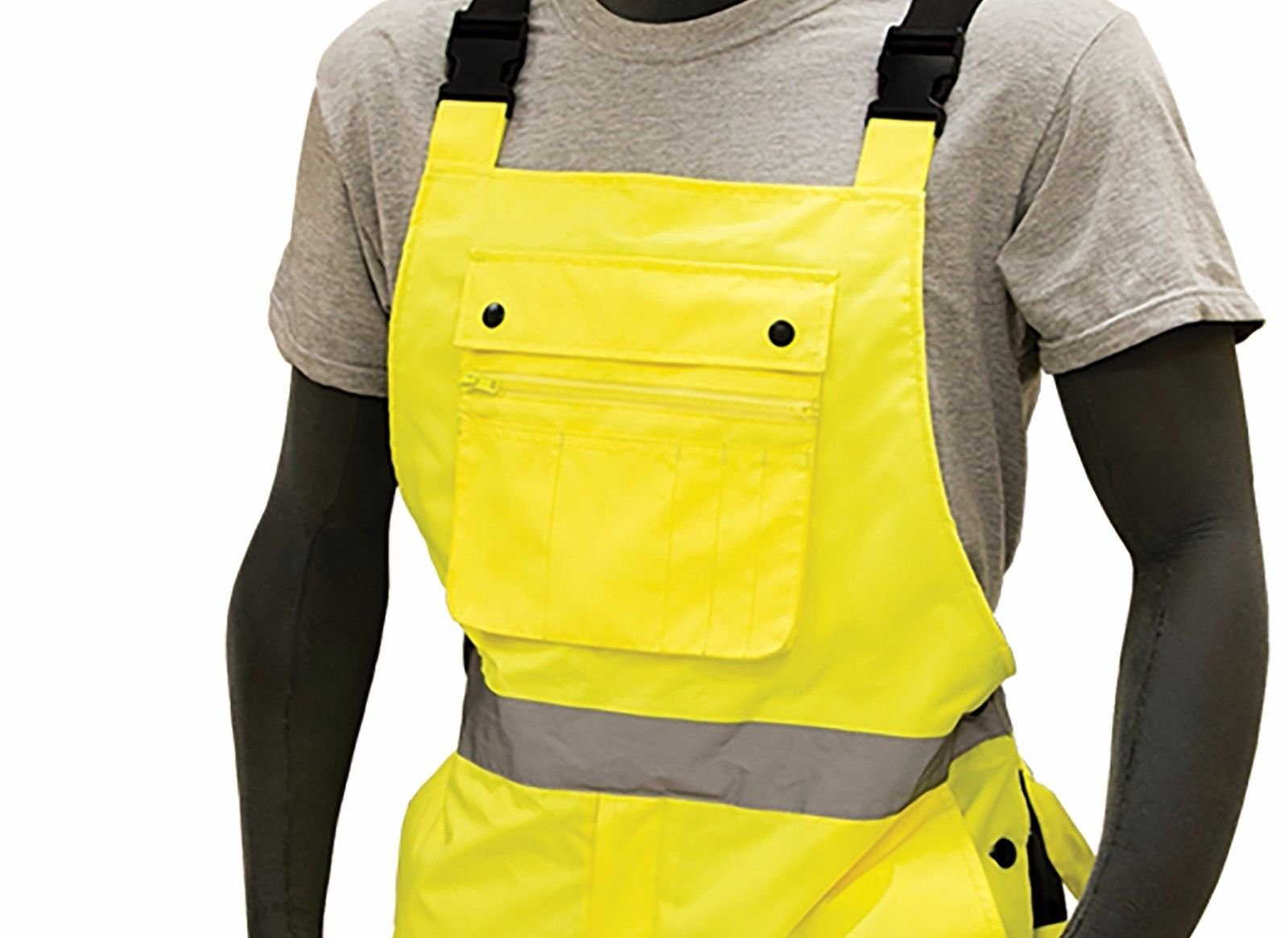 Majestic 75-2357 ANSI Class E Hi-Viz Bib Overalls, Waterproof, Quilted Insulation, Reinforced Nylon Rip-Stop, Zippers at Ankle, 3M Scotchlite, Yellow/Black, Size: XL by Majestic (Image #2)
