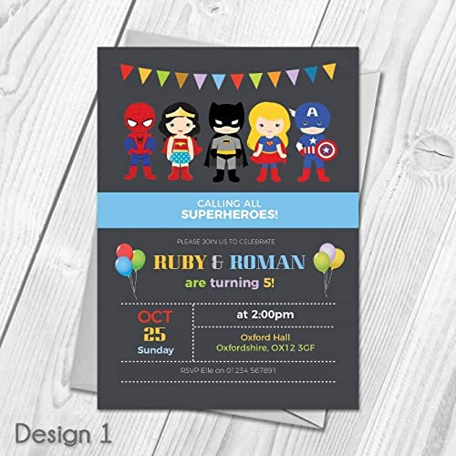 Personalised Kids Superhero Party Invitations Joint Or Single
