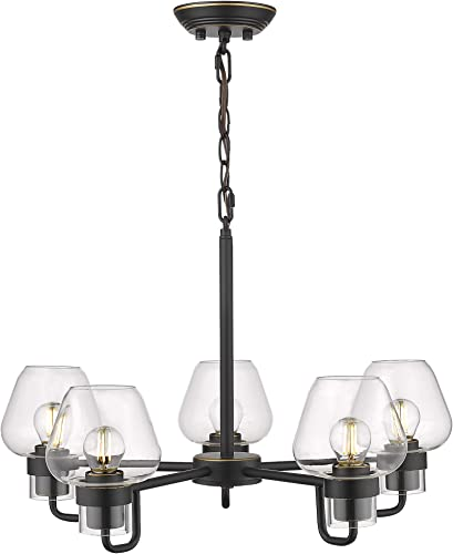 Beionxii 5-Light Chandelier, 21-Inch Industrial Vintage Pendant Lighting Fixture for Kitchen Island Dinning Room Black Finish with Clear Glass – BXB001 Series