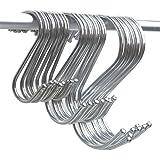 Magnolian 24 Pack S Shaped Hooks Stainless Steel Hanging Hook Hangers for Kitchen Spoon Pan Pot, Office Bathroom Hanger Storage Hanging Rack