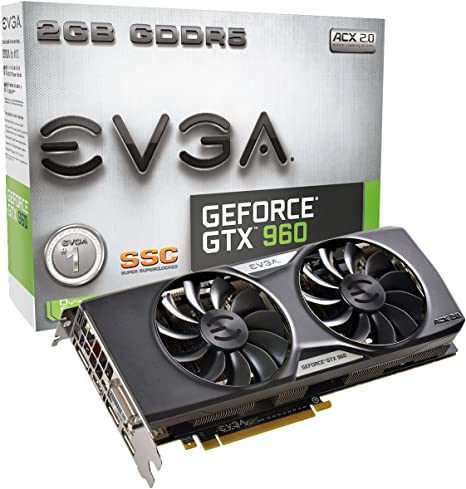 EVGA GeForce GTX 960 2GB SSC GAMING ACX 2.0+, Whisper Silent Cooling Graphics Card 02G-P4-2966-KR