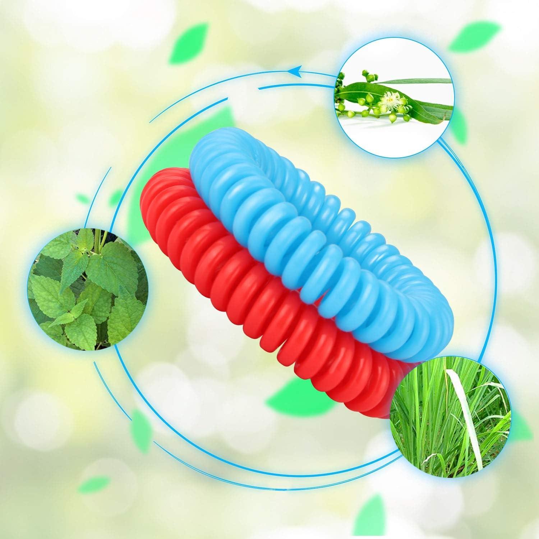 Parfait pour Les Enfants Adultes Telgoner Bracelet Anti-moustiques Naturel Bracelet Anti-moustiques 12 de Bracelet Protection Contre Les Insectes et 24 Autocollants Anti-Moustiques