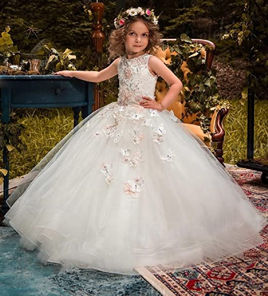 5021397d294 Amazon.com  HF 2018 New Princess Flower Girls Dresses for Weddings 3D  Floral Appliqued First Communion Dresses 118  Clothing