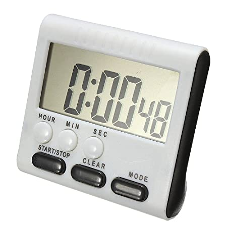 Temporizador de cocina digital, Reloj multifuncional de cocina Aolvo con dígitos grandes, Alarma fuerte, Base de respaldo magnética, Negro (Incluye batería ...