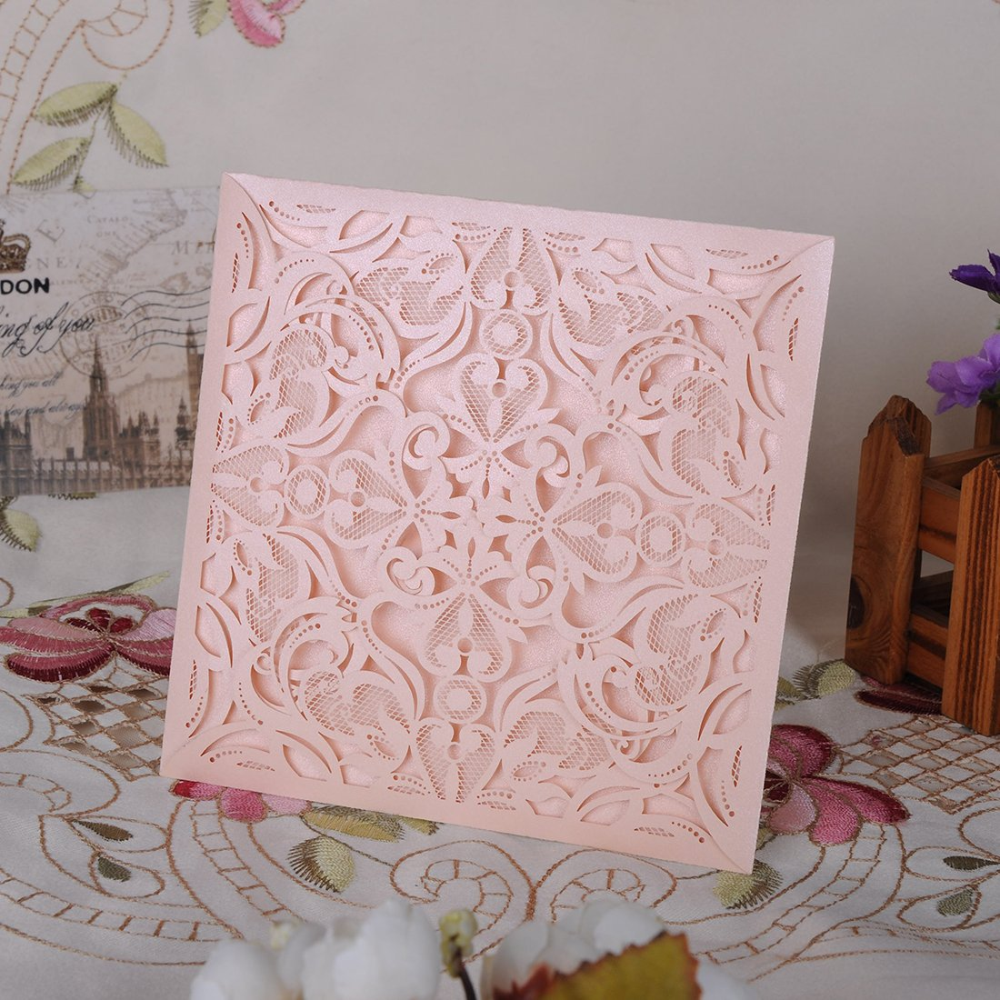 YUFENG 60pcs Laser Cut Wedding Invitations Cards Kit for Marriage Engagement Birthday Bridal Shower