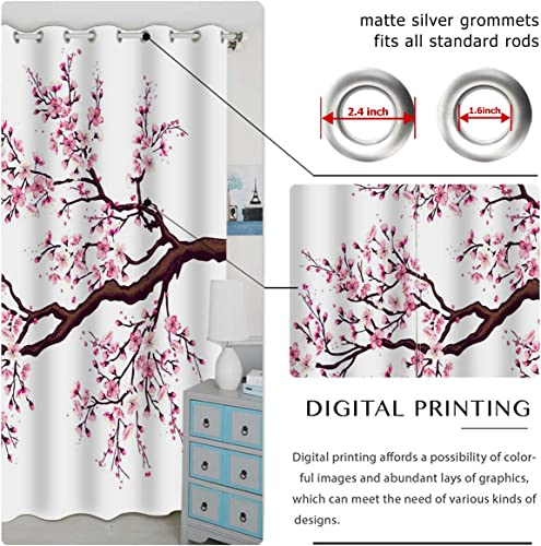 QH Window Curtain Panels Cherry Blossom Pattern Blackout Curtain Panels Thermal Insulated Light Blocking 42W x 84L inch Set of 2 Panels