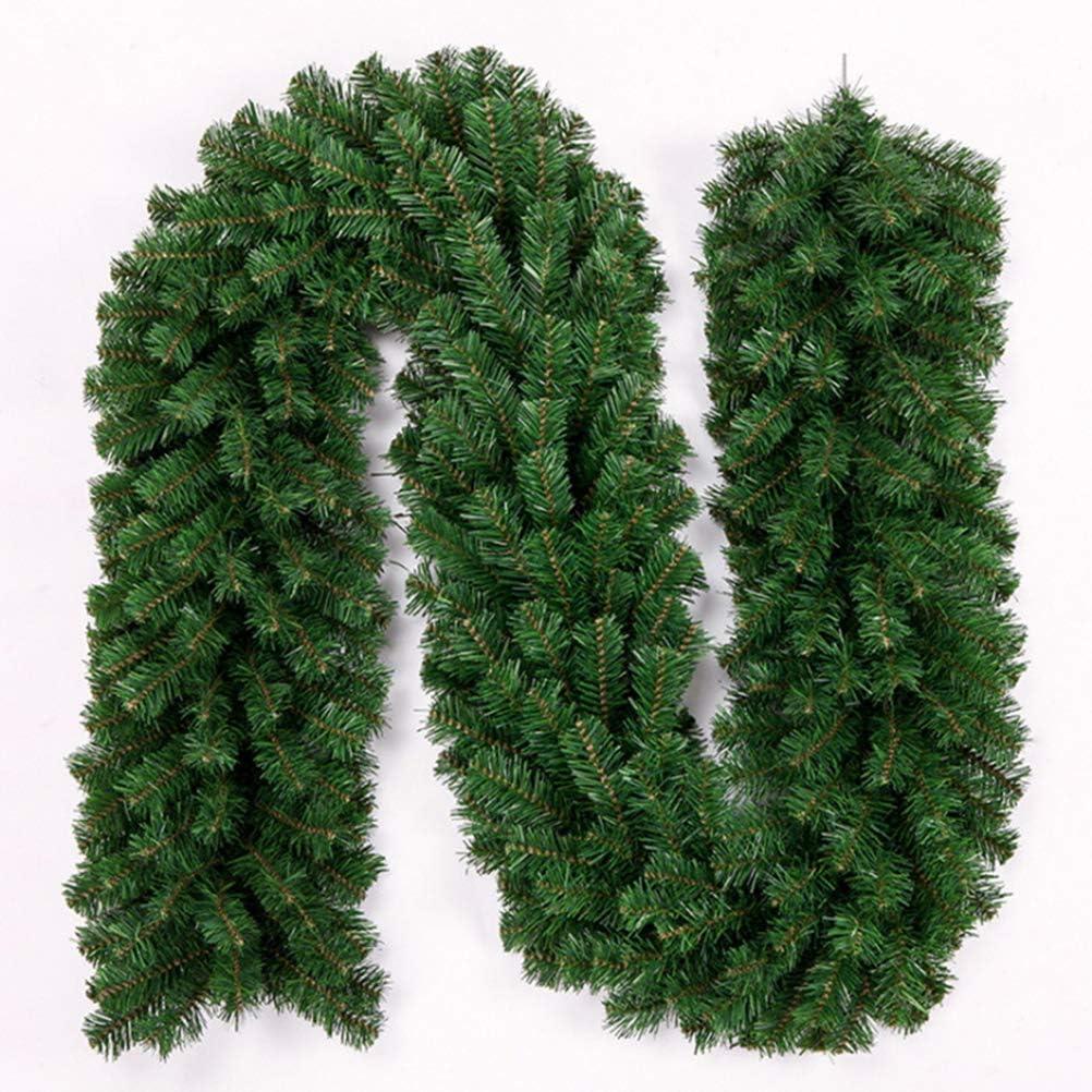 Ghirlanda Natalizia Vivace Rattan Verde Fai da Te 300 Rami Rattan Impermeabile per Caminetto Scale Ghirlanda Fondale Matrimonio Arco Decorazione della Parete KUTO 2,7 M Rattan Natalizio