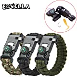 4 PACK Multifunctional Paracord Bracelet, ECVILLA Outdoor Survival Kit Parachute Cord Buckle W Compass Flint Fire Starter Scraper Whistle for Hiking Camping Emergency More