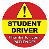 Student Driver Sign - Inside Car Window Static Cling Decal - 6 x 6 in. - Easy to Remove and Reposition & Won't Fall Off