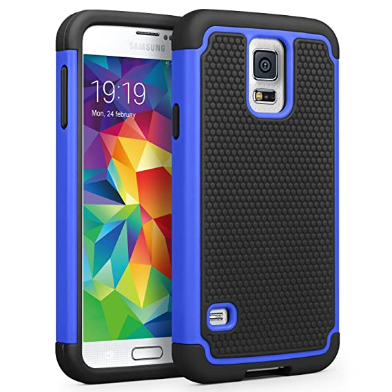 new concept 9262f 53325 Galaxy S5 Case, SYONER [Shockproof] Hybrid Rubber Dual Layer Armor Defender  Protective Case Cover for Samsung Galaxy S5 SV I9600 [Blue/Black]