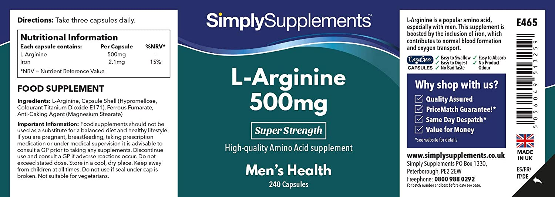 L-Arginina Extra Fuerte 500mg - 240 Cápsulas - Hasta 8 meses de suministro - Reconstrucción muscular - Disfunción erectil - Estimulante natural ...