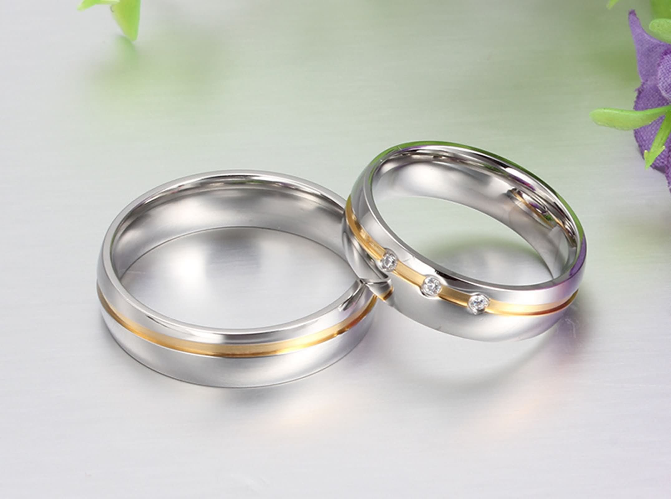 Beydodo Titanium Rings Set for Women Stainless Steel Ring Bands Round CZ Women Size 7 & Men Size 12 by Beydodo (Image #4)
