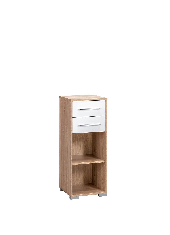 MAJA-Möbel 1224 2556 Aktenregal mit Schubladen, Sonoma-Eiche-Nachbildung - weiß Hochglanz, Abmessungen BxHxT   42,1 x 109,7 x 40 cm