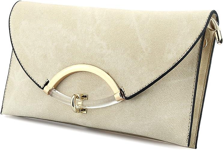 Womens Evening Faux Leather Clutch Bag Wrist Ring Party Handbag Cross body Bag