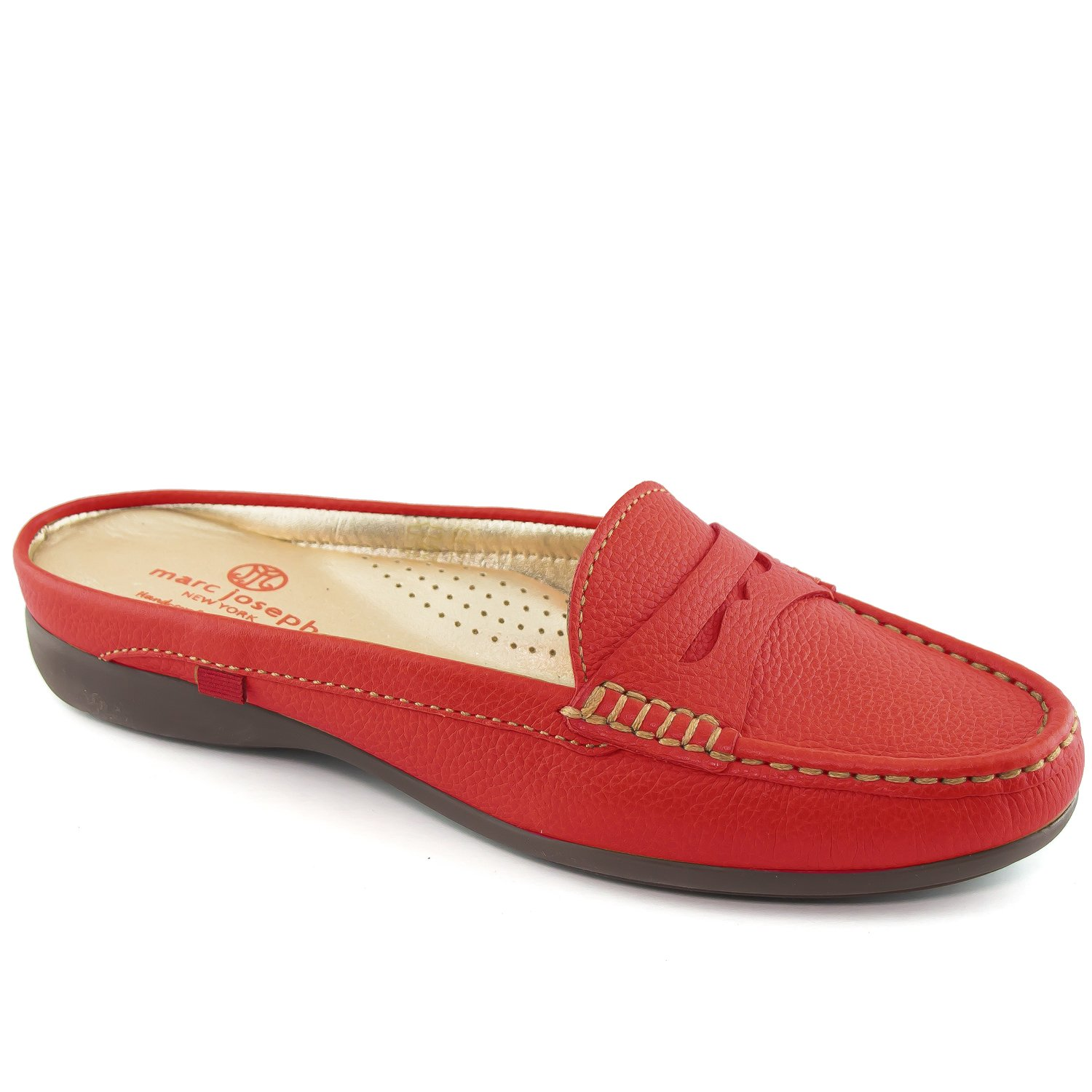 Marc Joseph New York Women's Union Mule Red Grainy Slip On 6