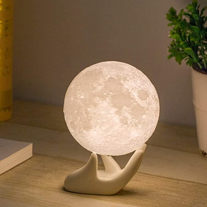 Amazon.com: Mydethun Moon Lamp Moon Light Night Light for Kids Gift for Women USB Charging and Touch Control Brightness 3D Printed Warm and Cool White Lunar Lamp(3.5In moon lamp with stand): Home & Kitchen