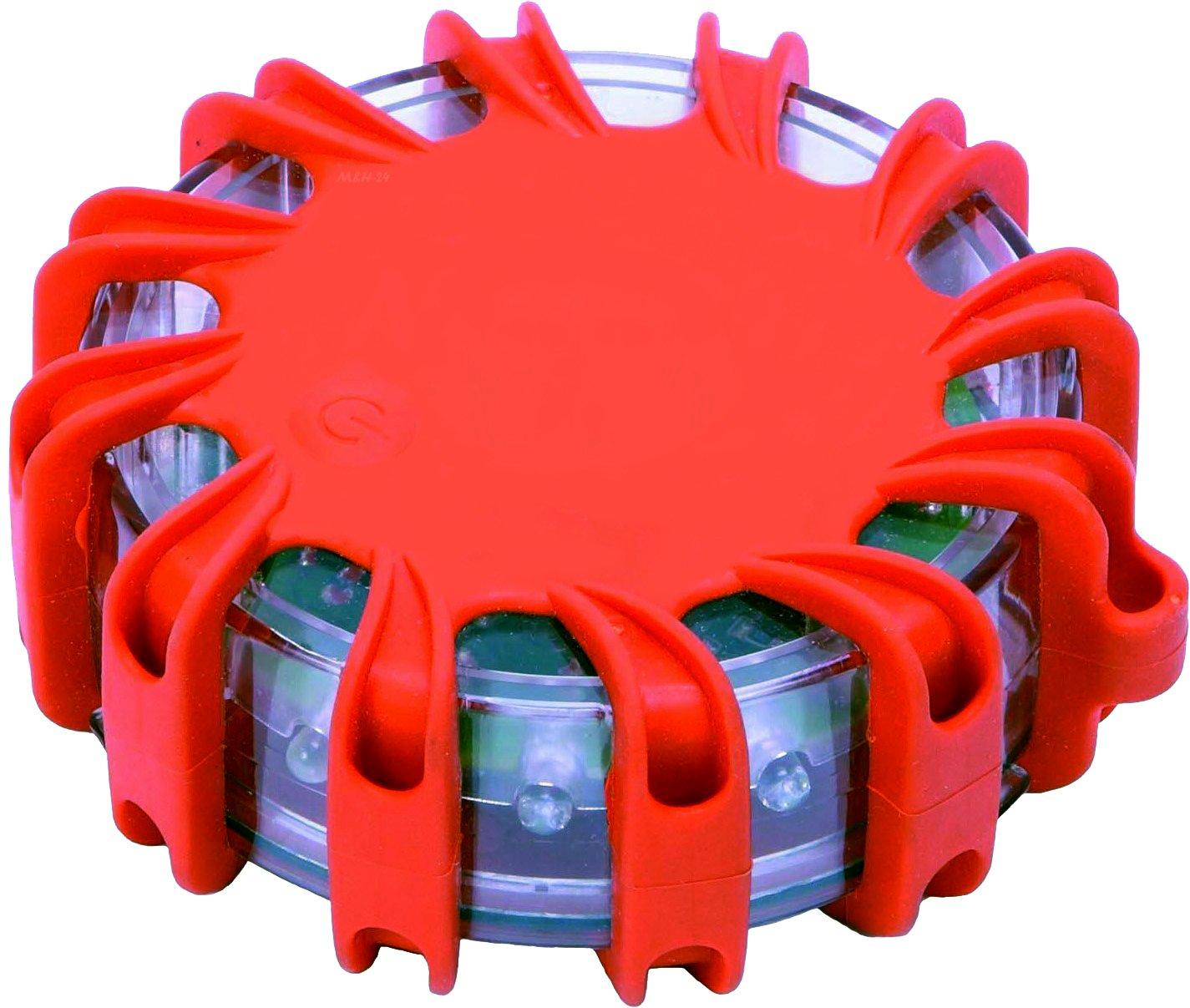 Warnblinkleuchte LED Warnleuchte Auto - ideal als Ergä nzung zum Warndreieck & Warnweste mit Magnet und 16 LED fü rs Auto Notfall Pannenhilfe (1 Stü ck) M&H-24