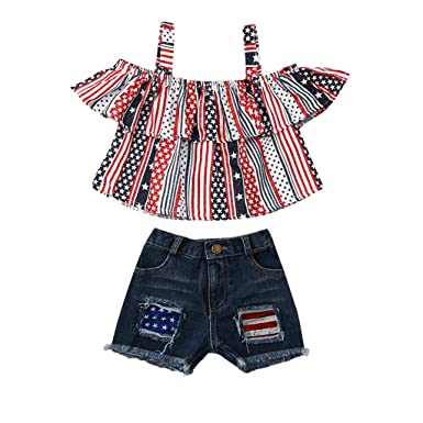 af3e7ef53f114 Amazon.com: Cuekondy Toddler Baby Girls 4th of July Stars Stripe Print Off  Shoulder Ruffle Crop Tops+Denim Shorts Summer Outfits: Clothing