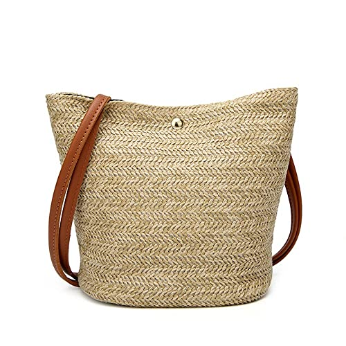 91d320ca06a1 Women Top Handle Straw Bag Shoulder Bag Crossbody Bag Purse Beige:  Handbags: Amazon.com