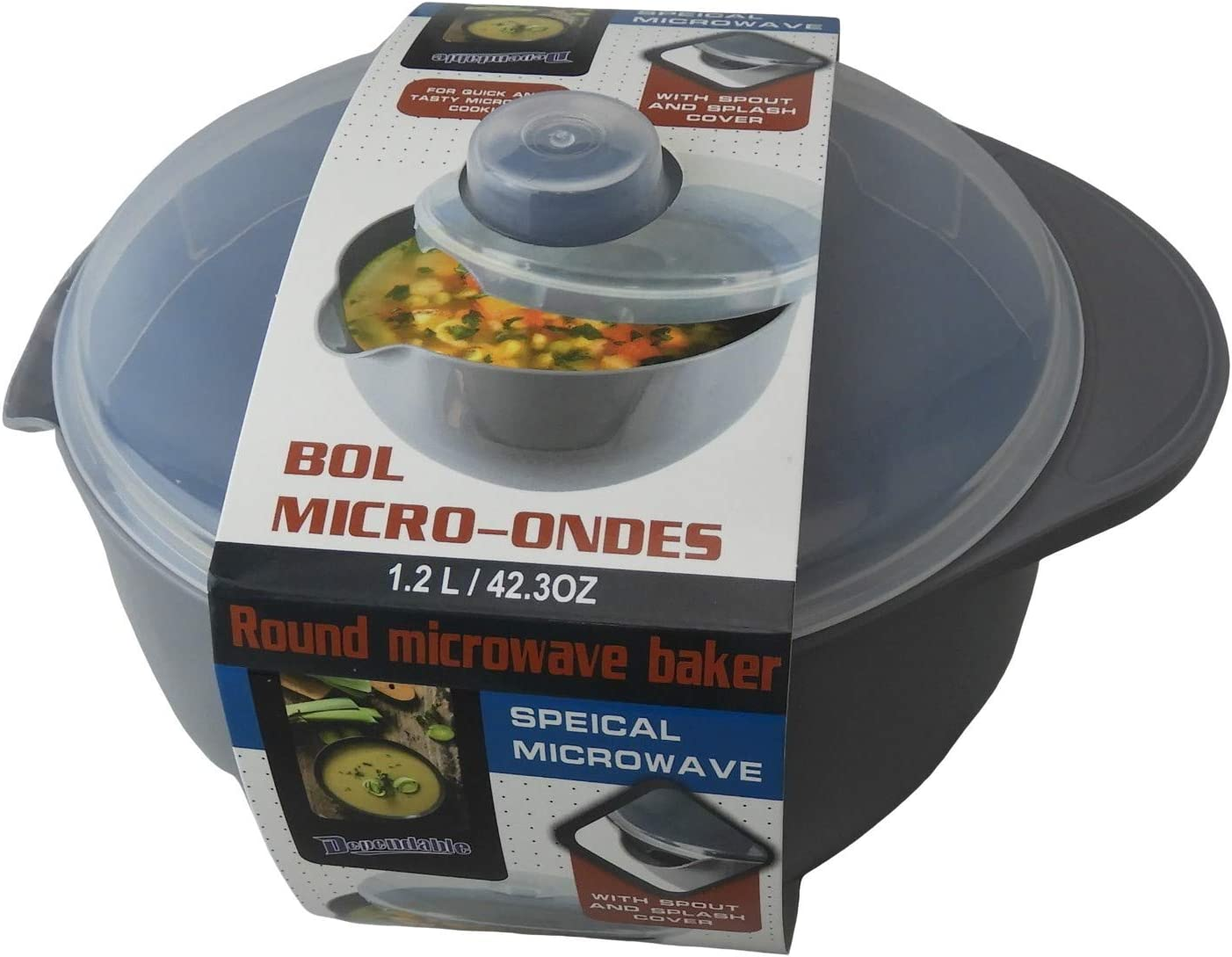 Microwave Soup and Stew Maker Microwave Bowl with Spout and Splash Cover 1.2L