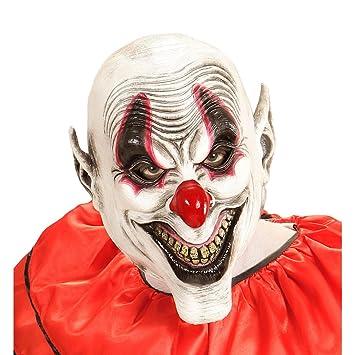 Máscara bufón de miedo Careta de payaso de terror sonriente Mascarilla látex arlequín cubre rostro fiesta